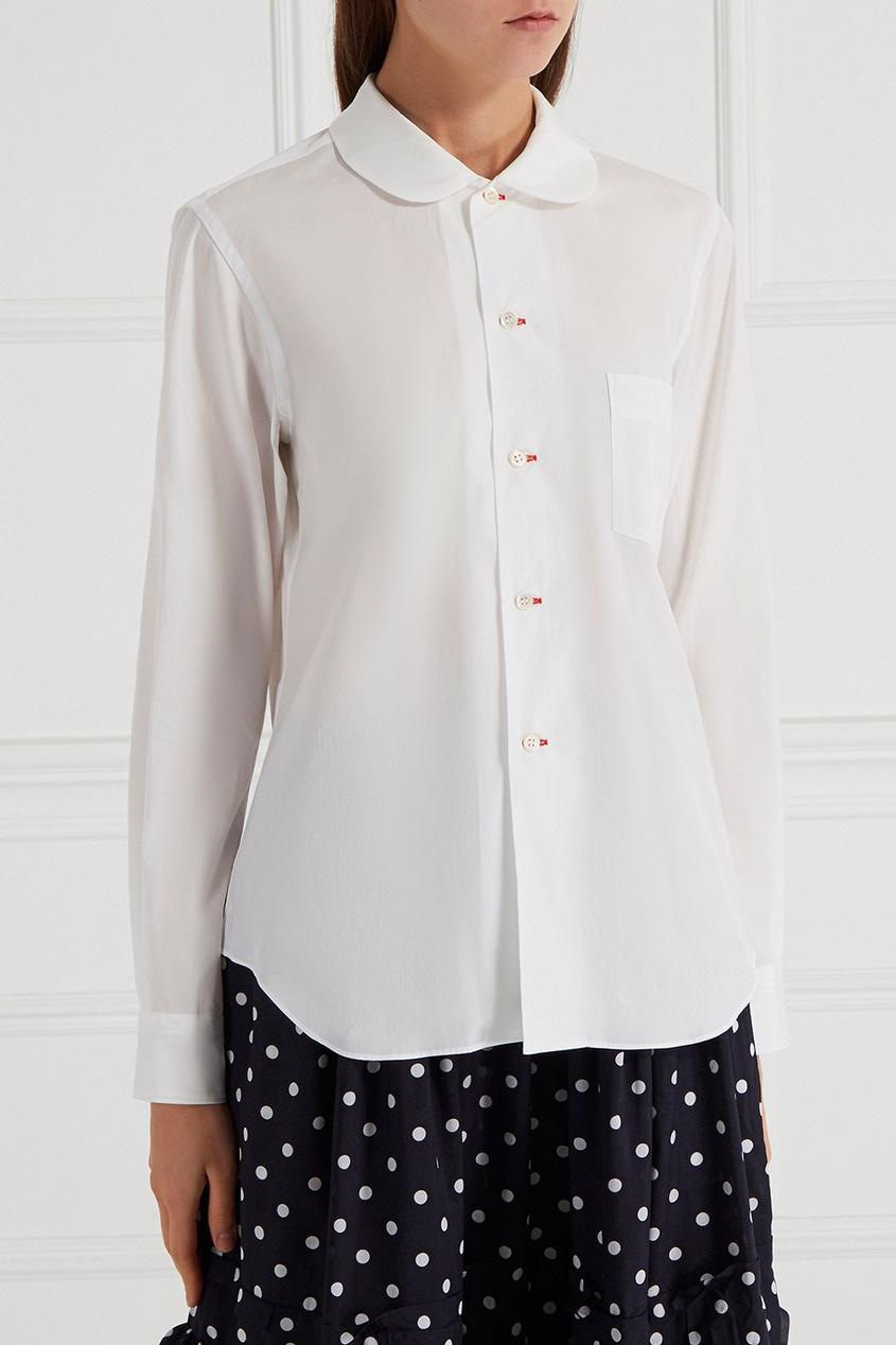 Купить со скидкой Хлопковая блузка с круглым воротником