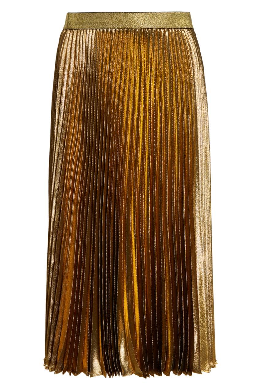 Плиссированная юбка из золотистого шелка