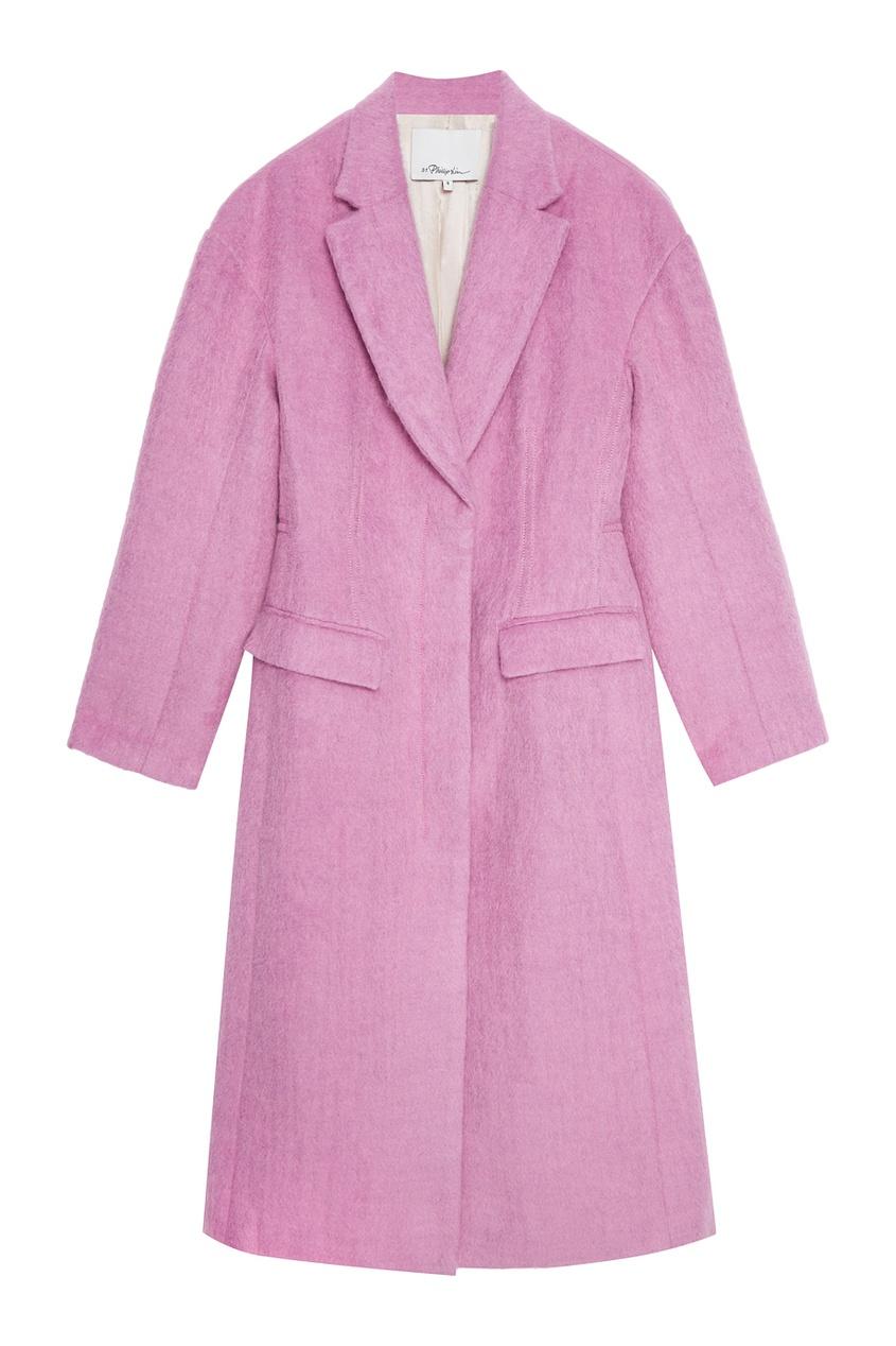3.1 Phillip Lim Розовое пальто из шерсти и мохера пальто seanna платье пальто вязаное зигзаги из мохера с запахом