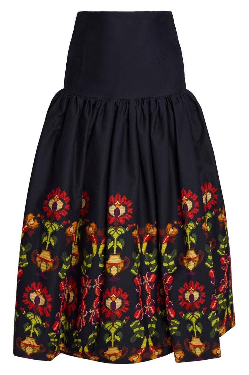 Хлопковая юбка-миди с принтом