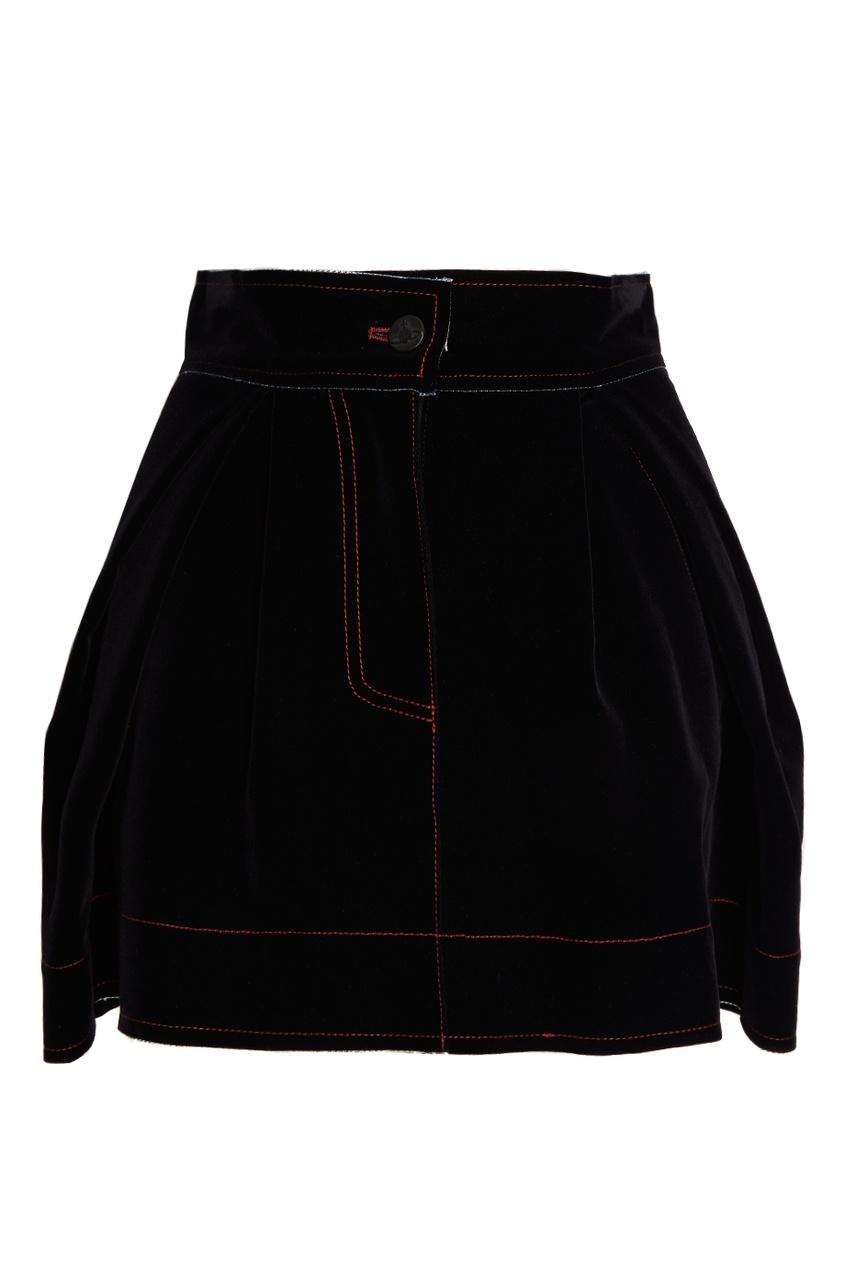 Бархатная юбка-мини со складками