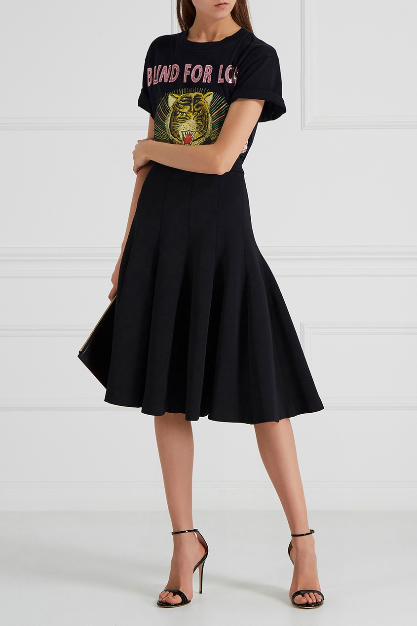 Расклешенная юбка из трикотажа
