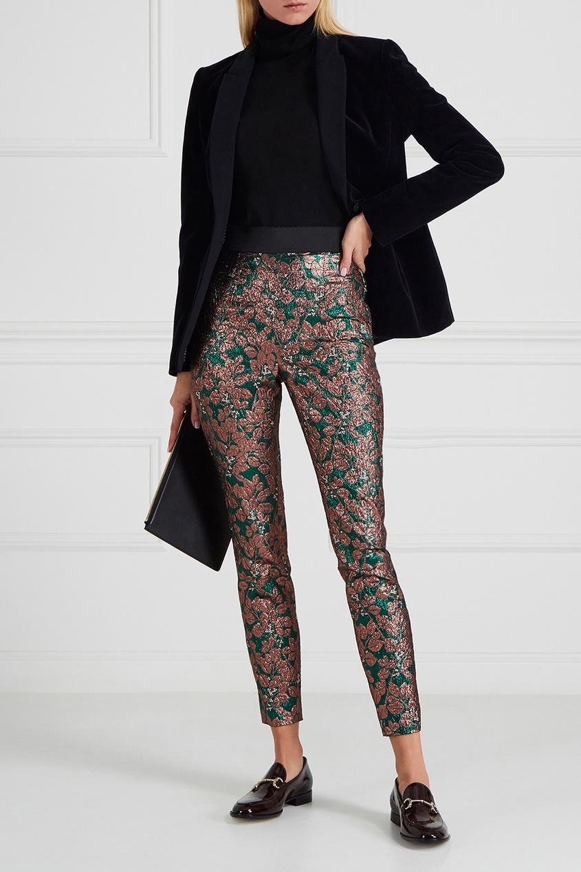 Жаккардовые брюки с растительным узором