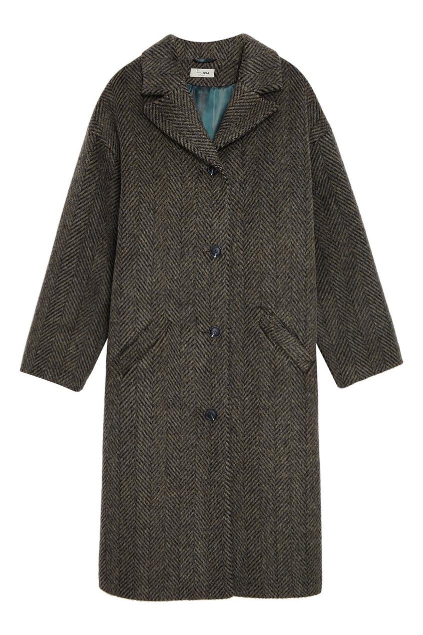Утепленное пальто в елочку