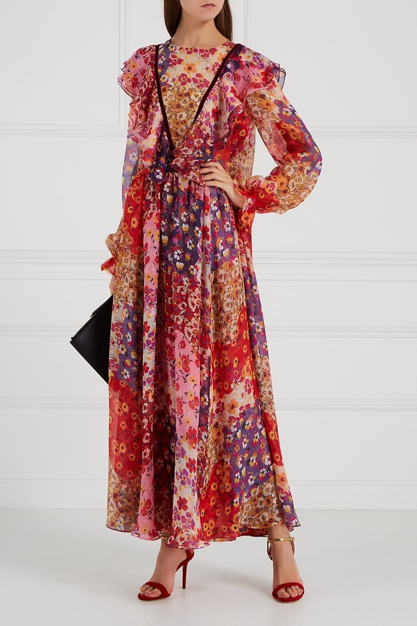Шелковое платье-макси с цветочным принтом