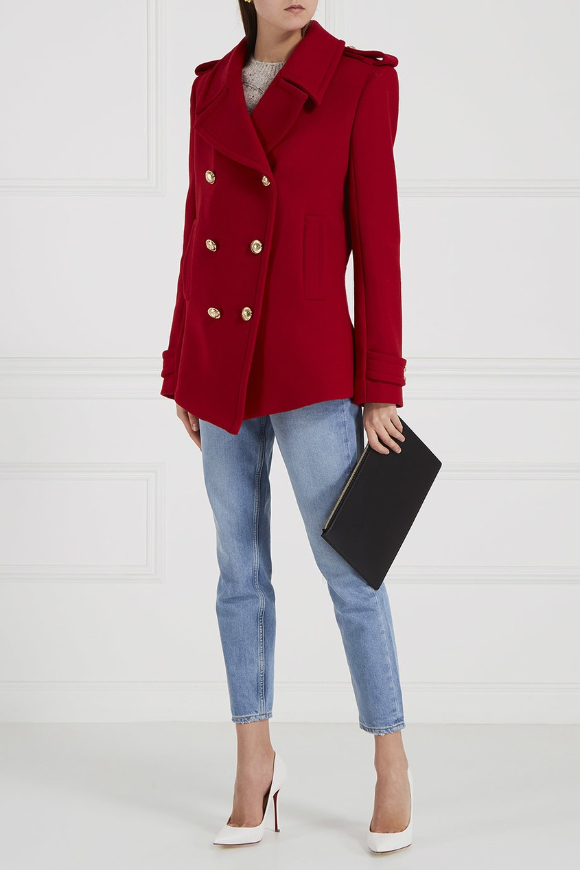 Alexandre Vauthier Красное пальто из шерсти пальто из шерстяного драпа 70