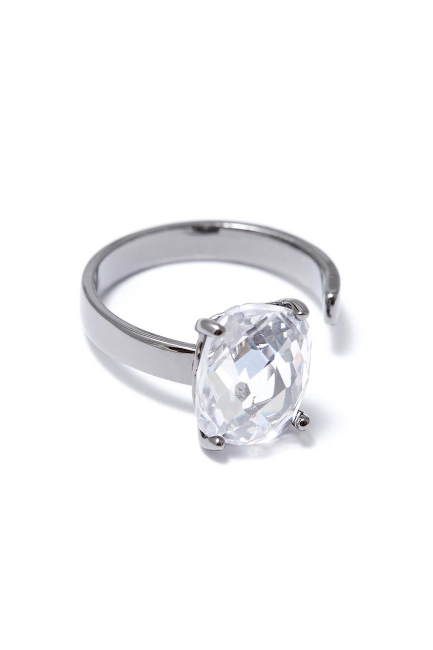 Незамкнутое кольцо с кристаллом
