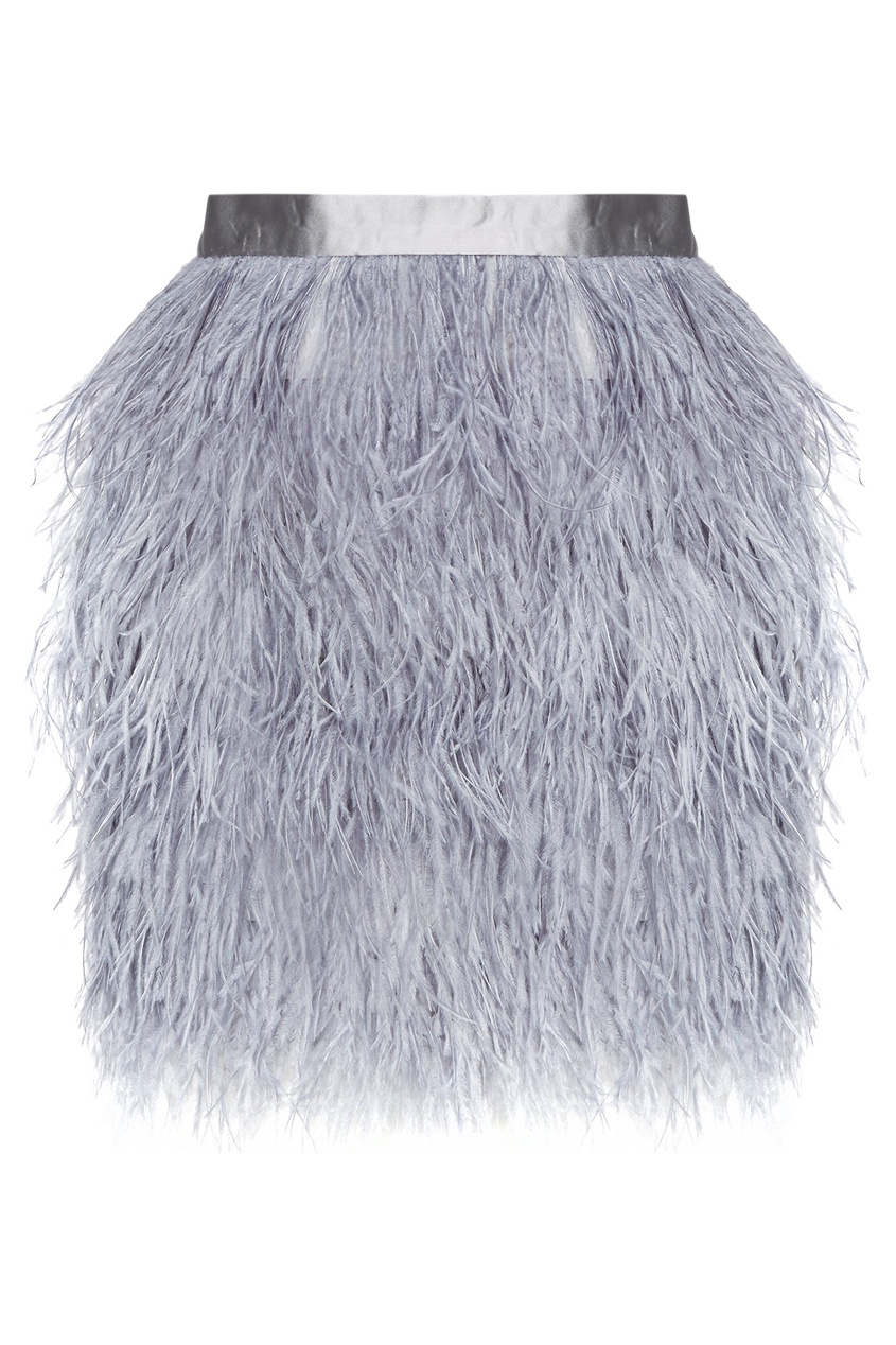 Серая юбка из перьев страуса