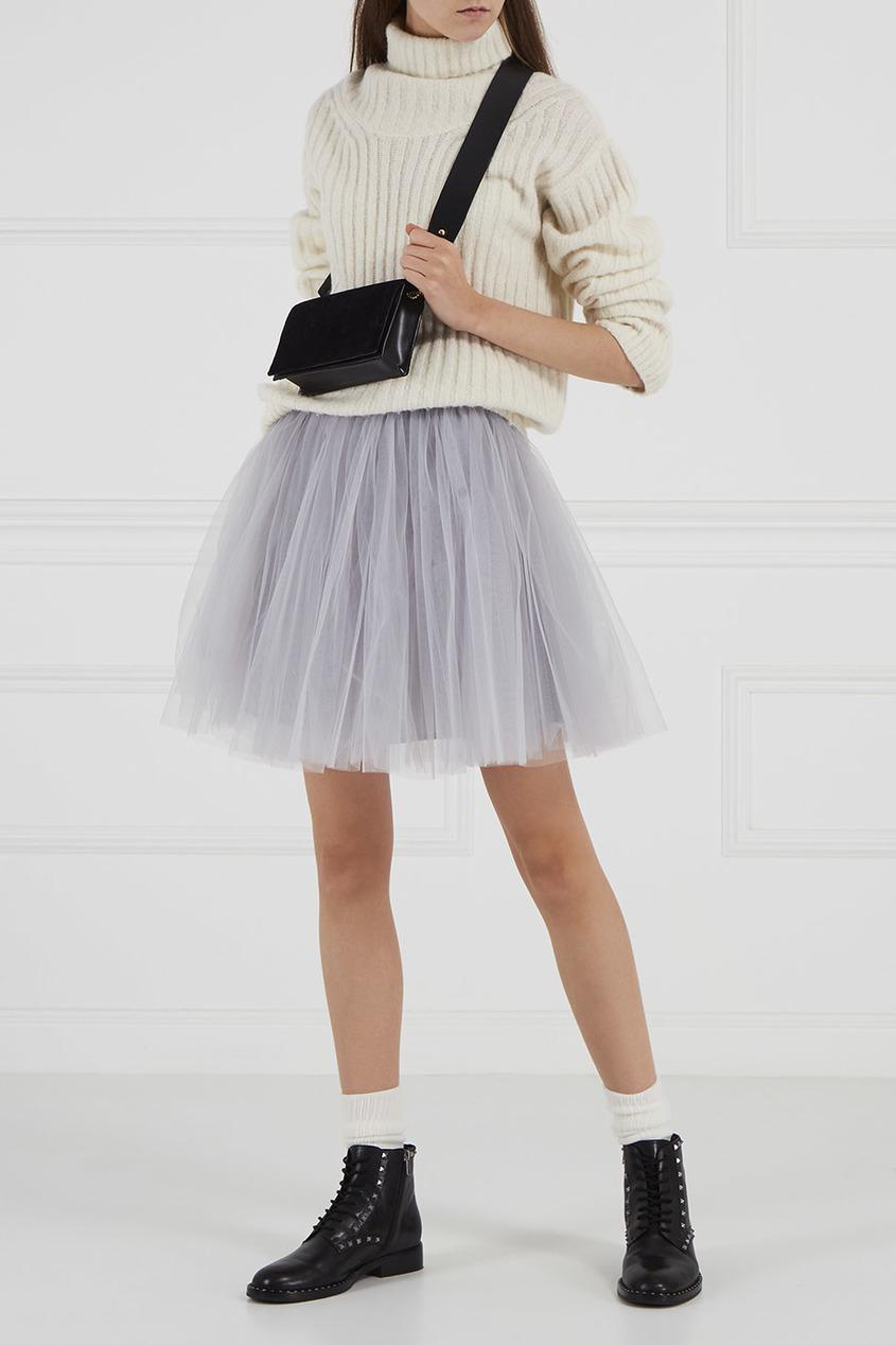 Серая юбка из сетки