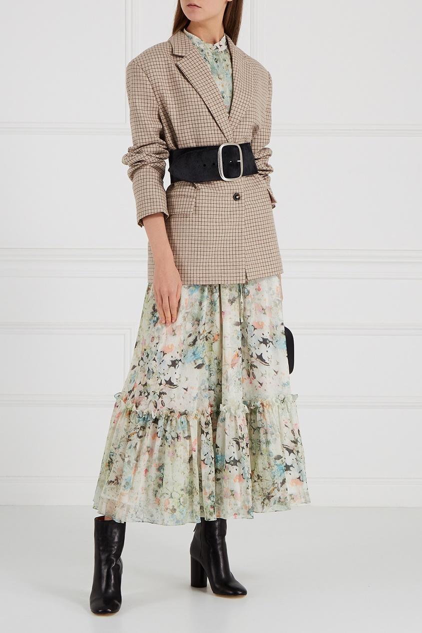 Платье-макси из шелка с принтом