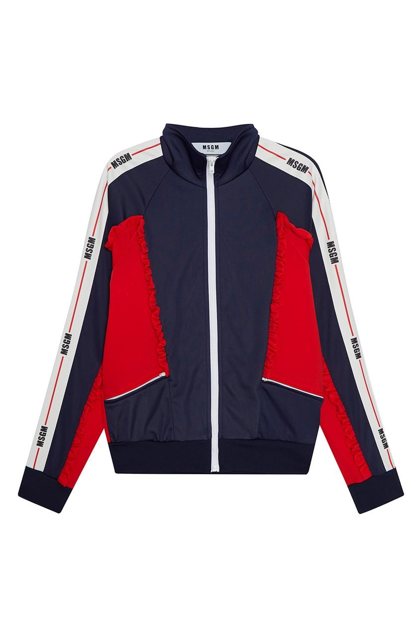 MSGM Куртка с цветной отделкой rnt23 темно синяя вельветовая куртка