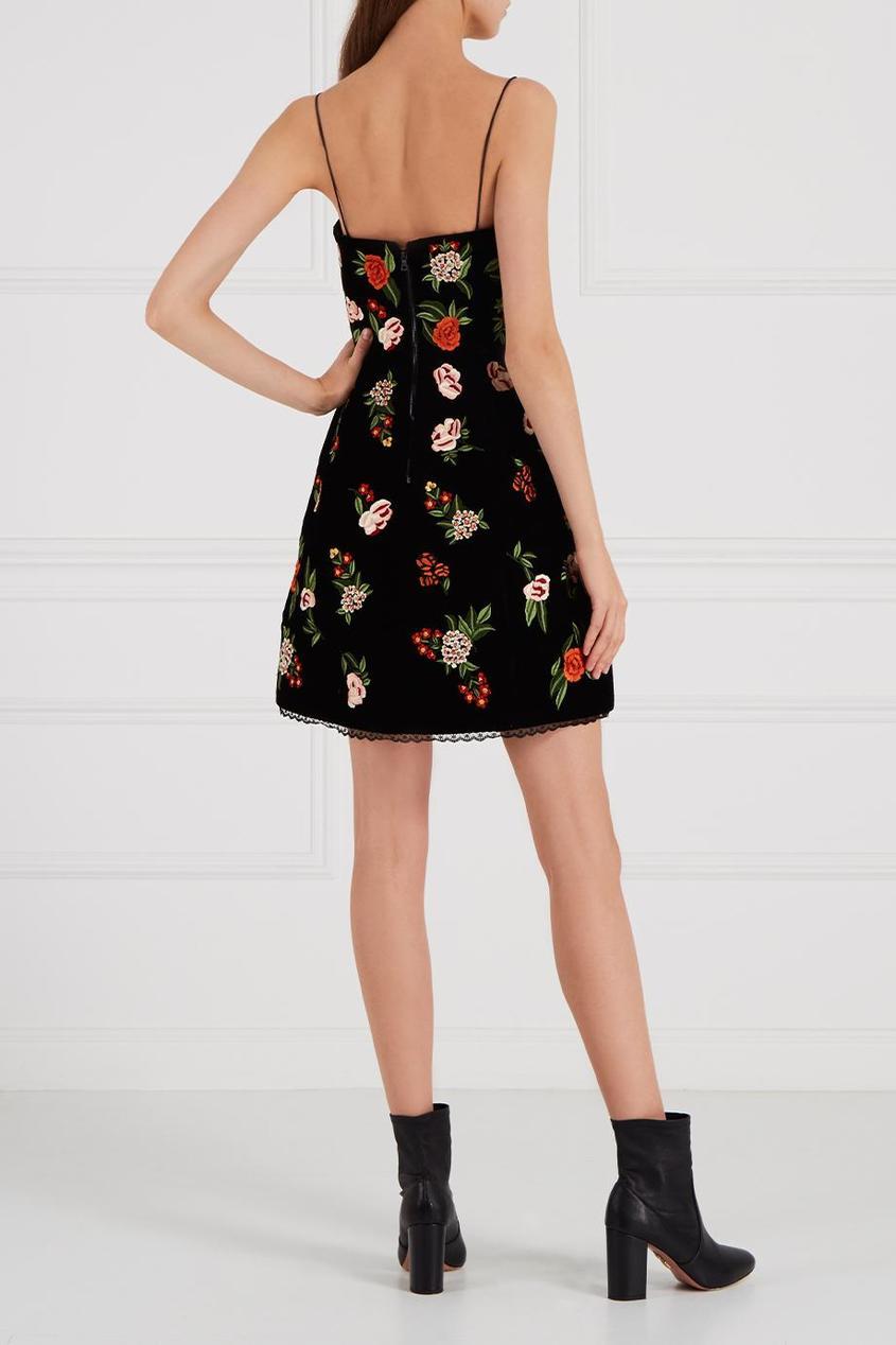 Alice + Olivia Бархатное платье с цветами цены онлайн