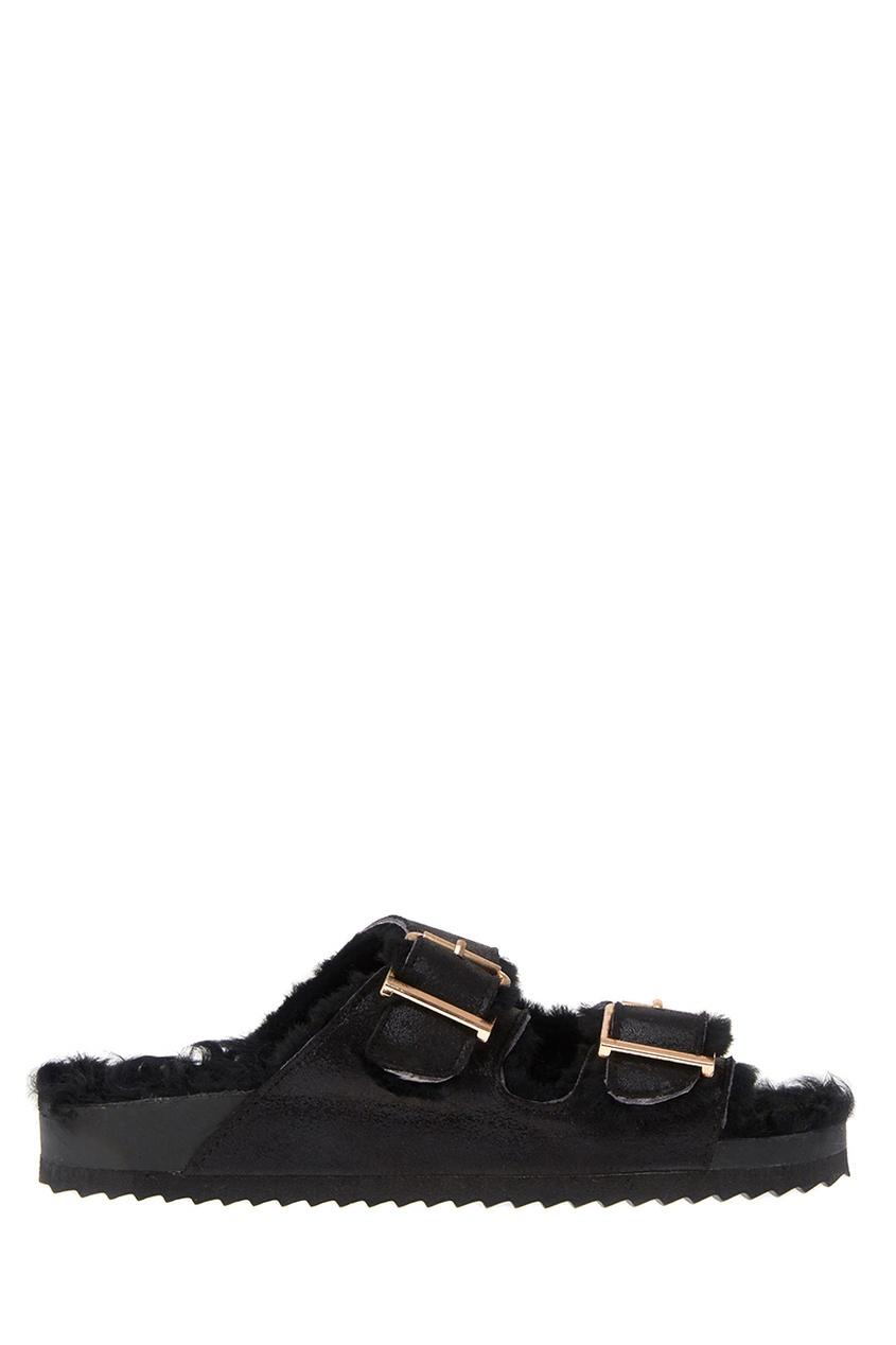 Colors Of California Черные сандалии с мехом цены онлайн
