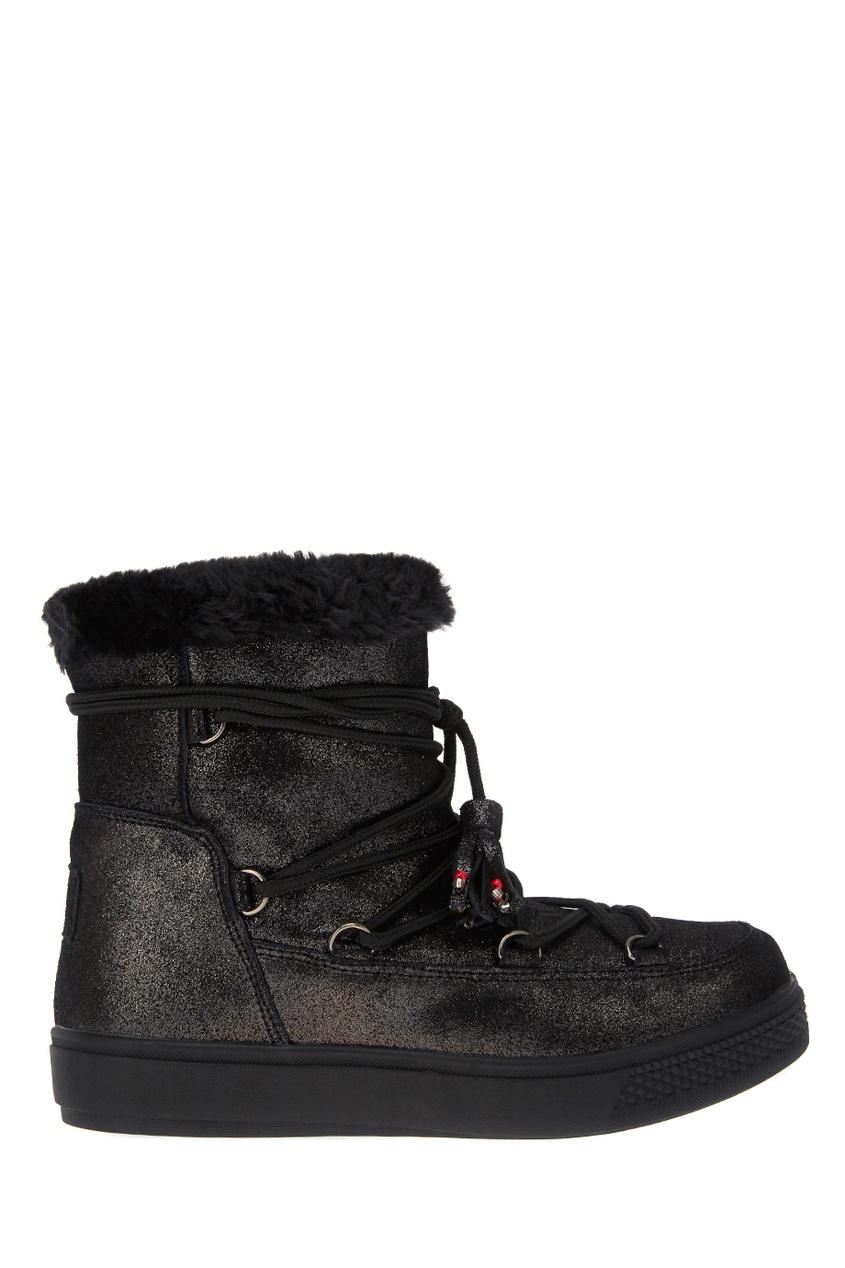 Кожаные ботинки-луноходы черные