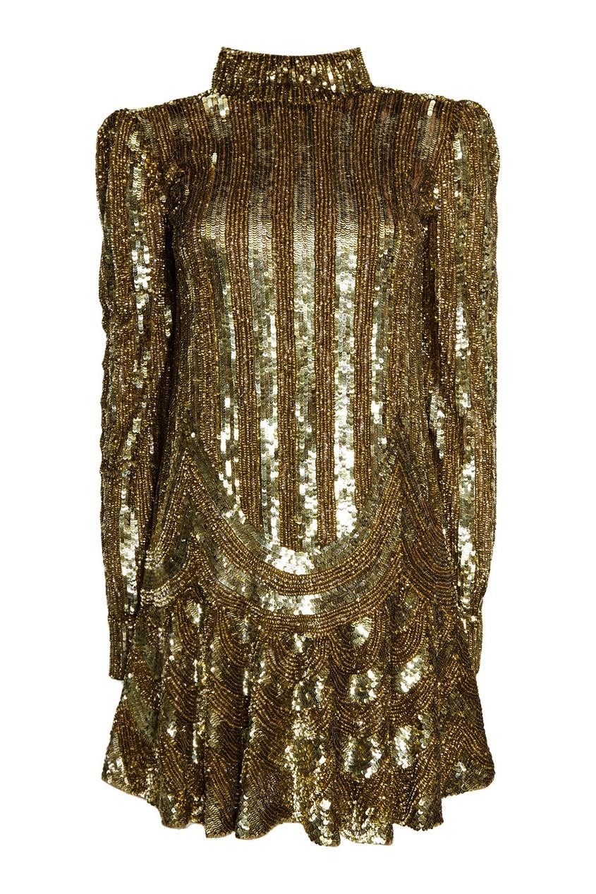 Marc Jacobs Платье с золотистыми пайетками no name юбка с золотистыми пайетками