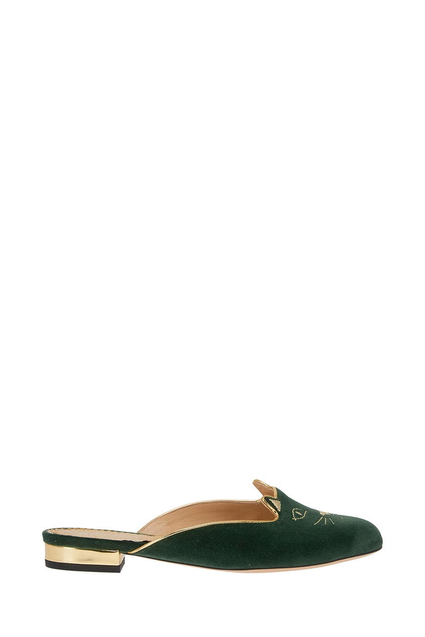 Charlotte Olympia Бархатные слиперы Kitty Slipper charlotte olympia балетки pretty in pink kitty