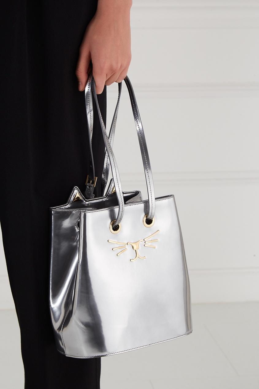Серебристая сумка Feline Bucket Bag