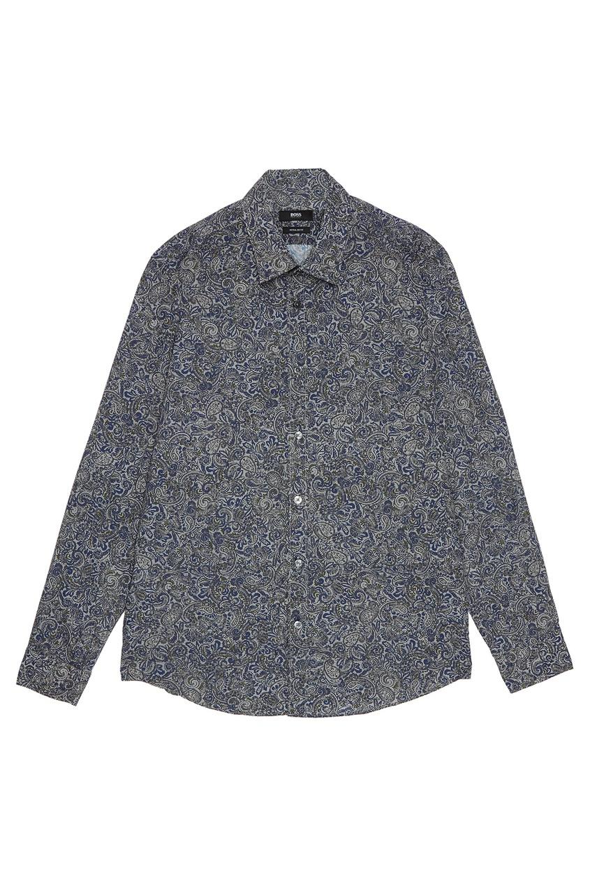 Купить Рубашку с принтом синего цвета