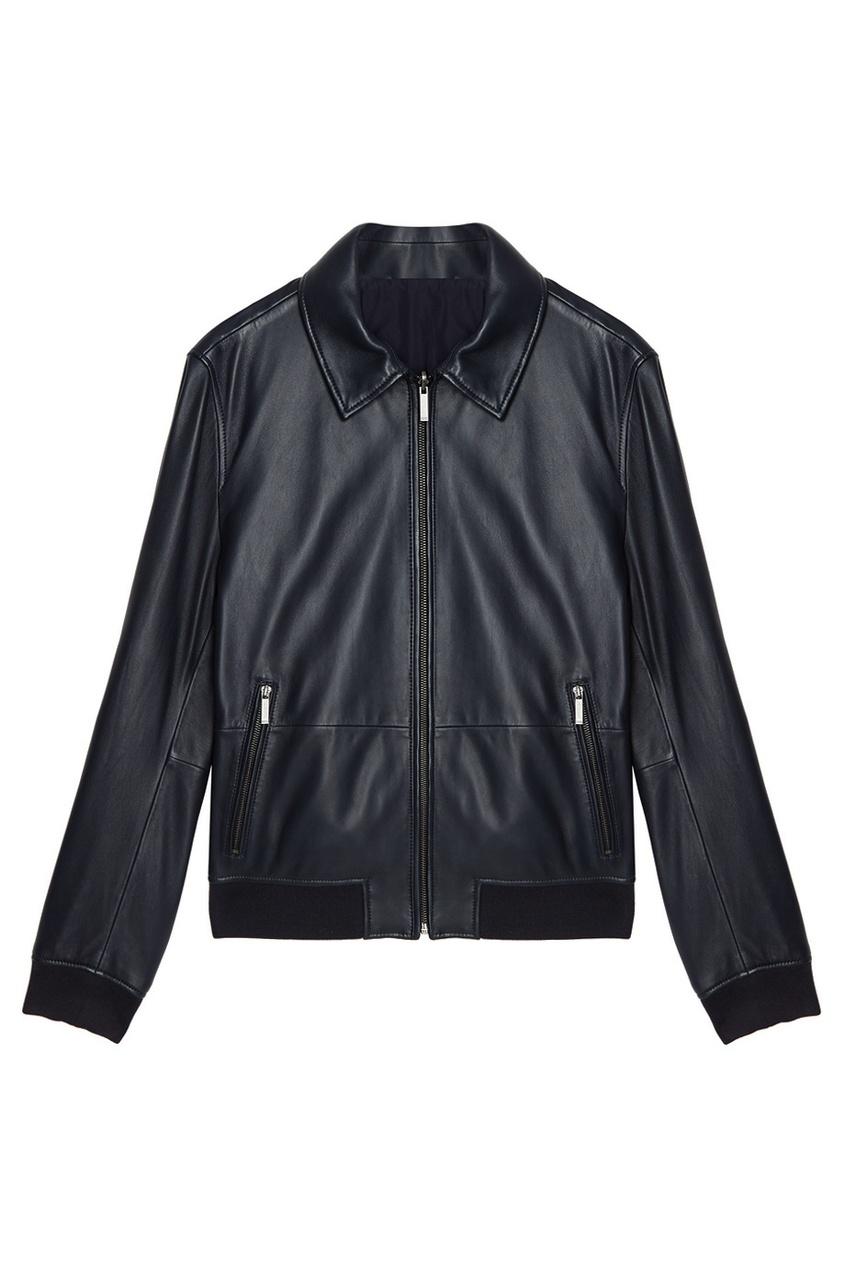 Купить Кожаная куртка синего цвета
