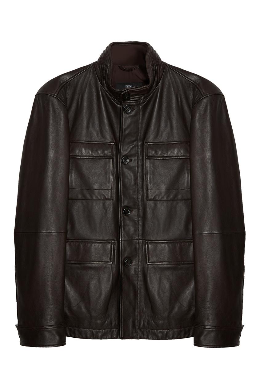 BOSS Кожаный пиджак с карманами пиджак boss пиджак