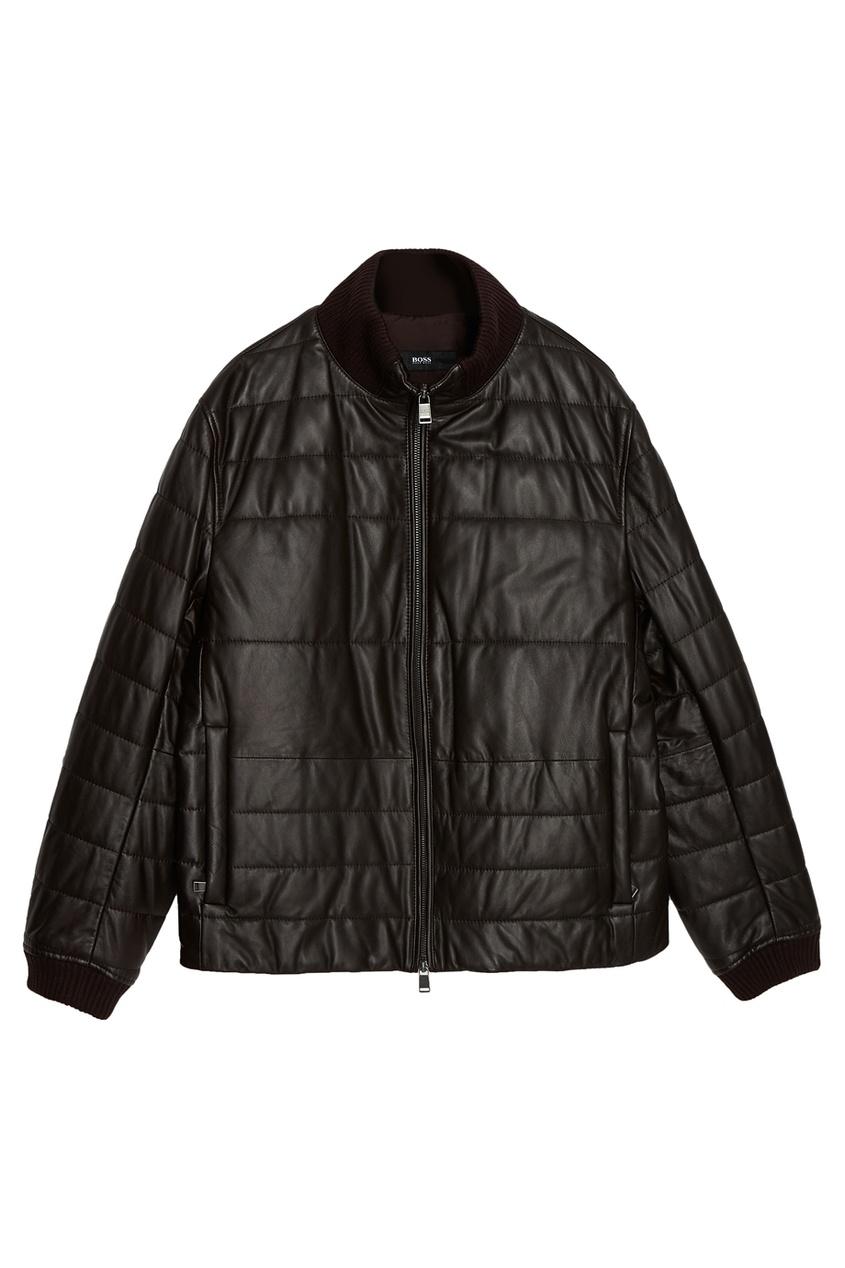 Купить Стеганая кожаная куртка коричневого цвета