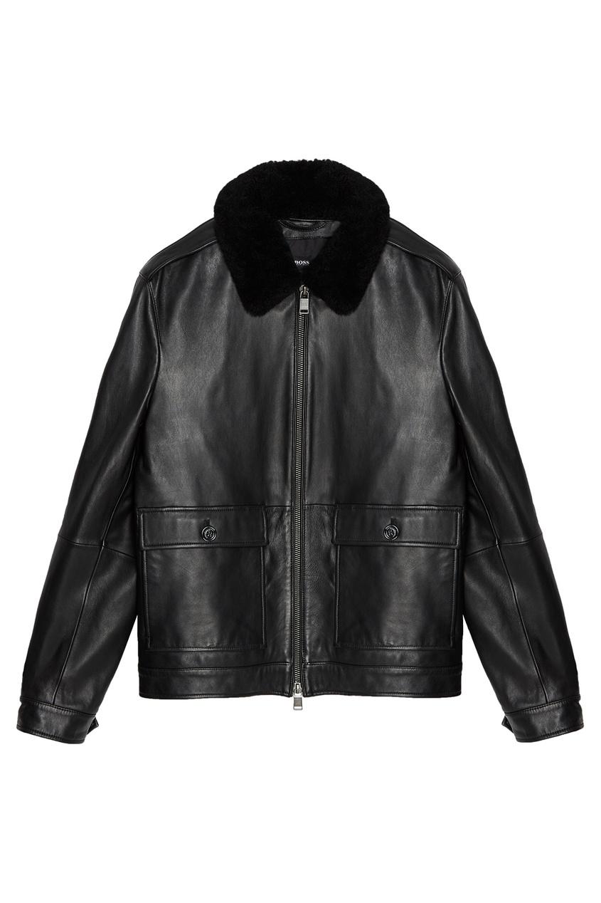 Купить Кожаная куртка с отделкой черного цвета