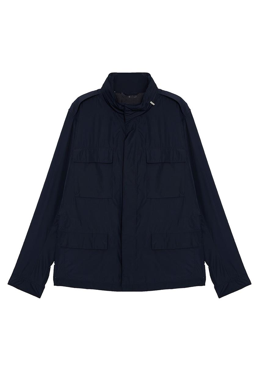 Купить Куртку с плоскими карманами синего цвета