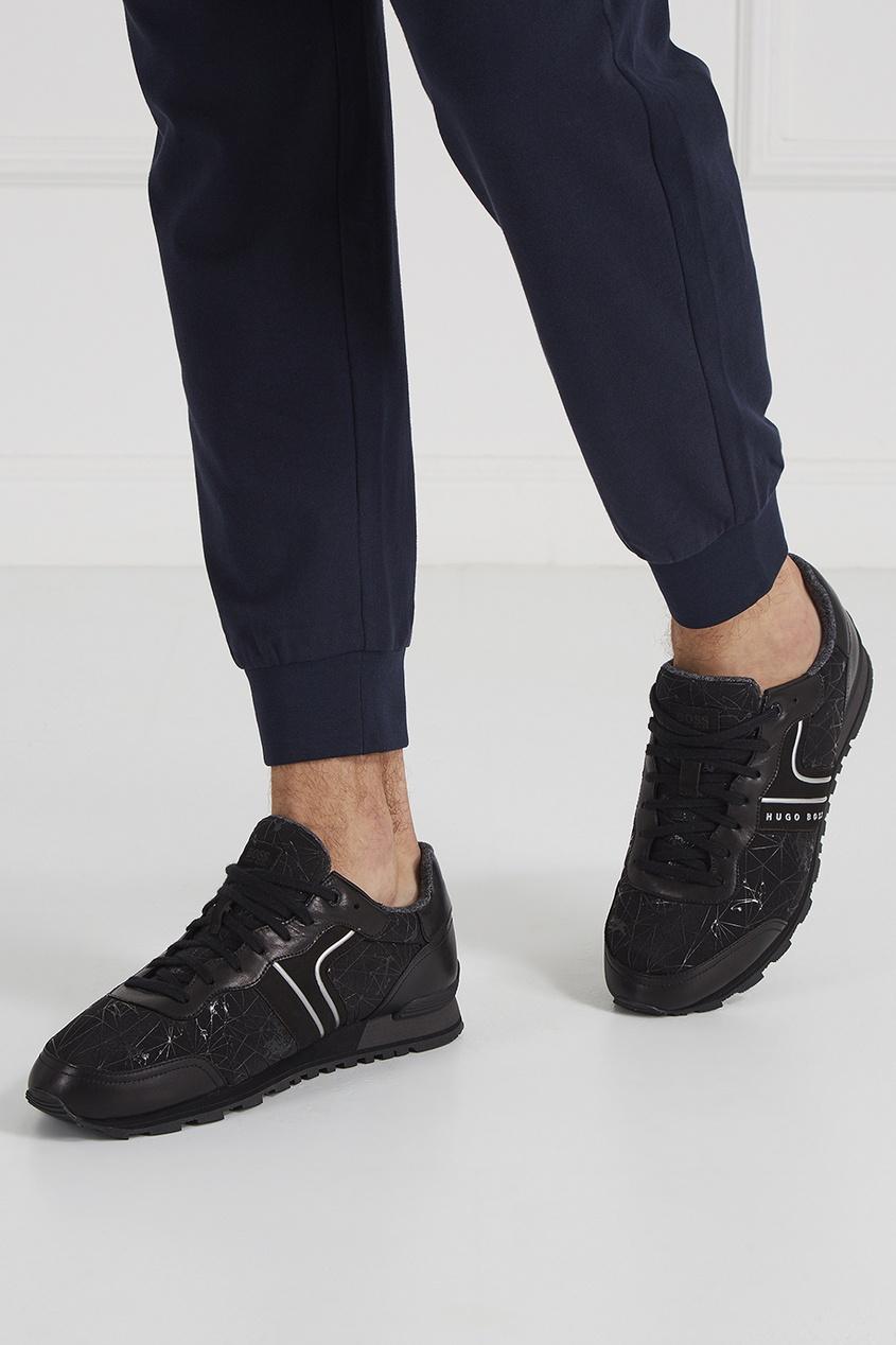 цены на Boss Green Кожаные кроссовки с отделкой в интернет-магазинах