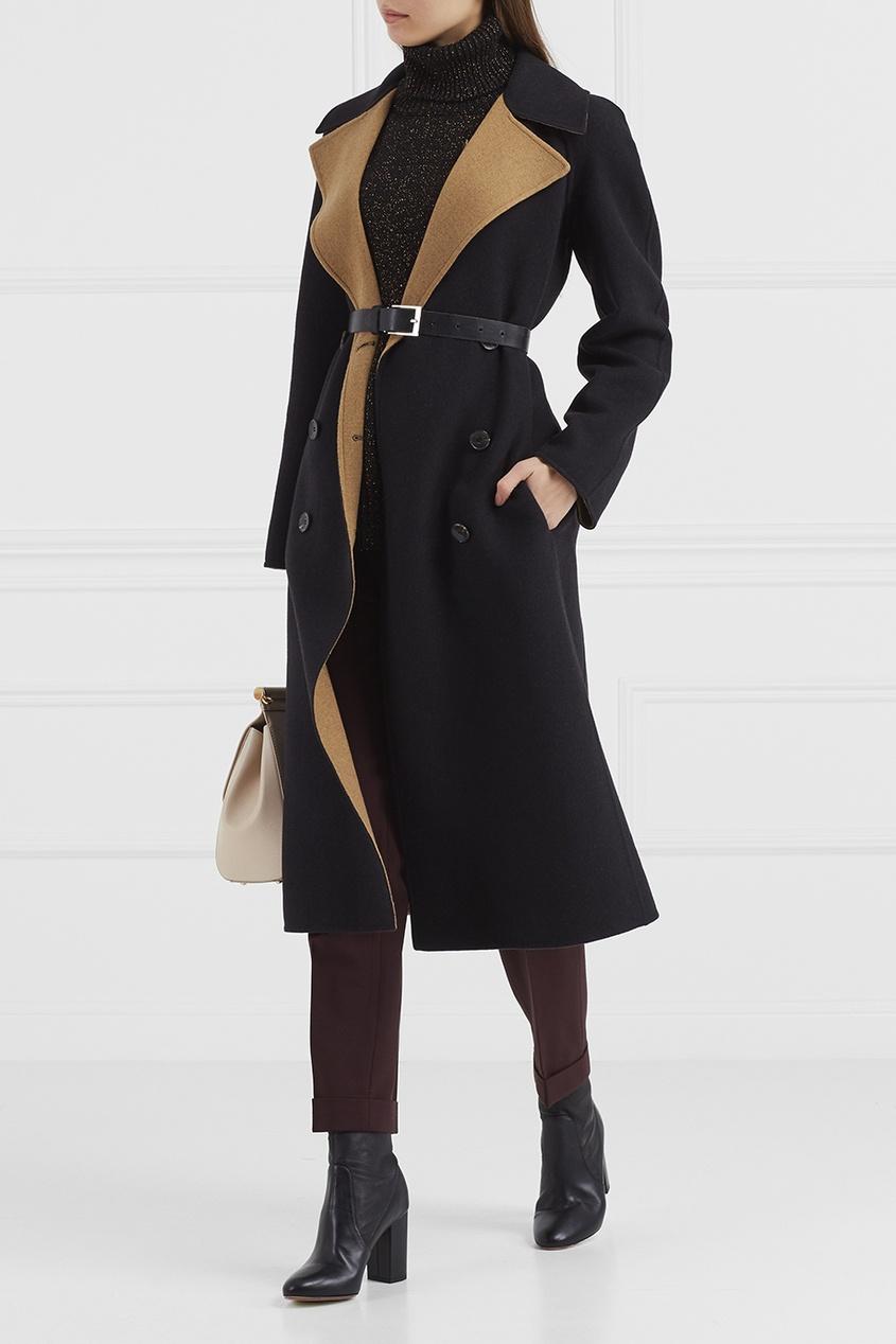 Etro Контрастное шерстяное пальто драповое длинное пальто из шерсти claudius