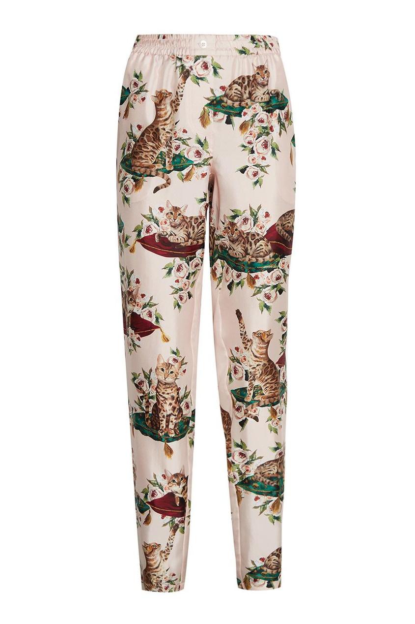 Dolce&Gabbana Шелковые брюки с принтом