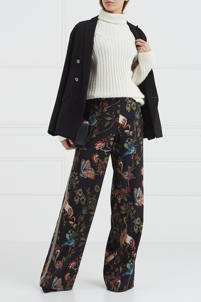 Etro Шерстяные брюки с принтом