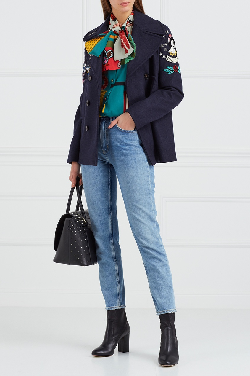 Valentino Шерстяное пальто с аппликациями valentino однотонное пальто