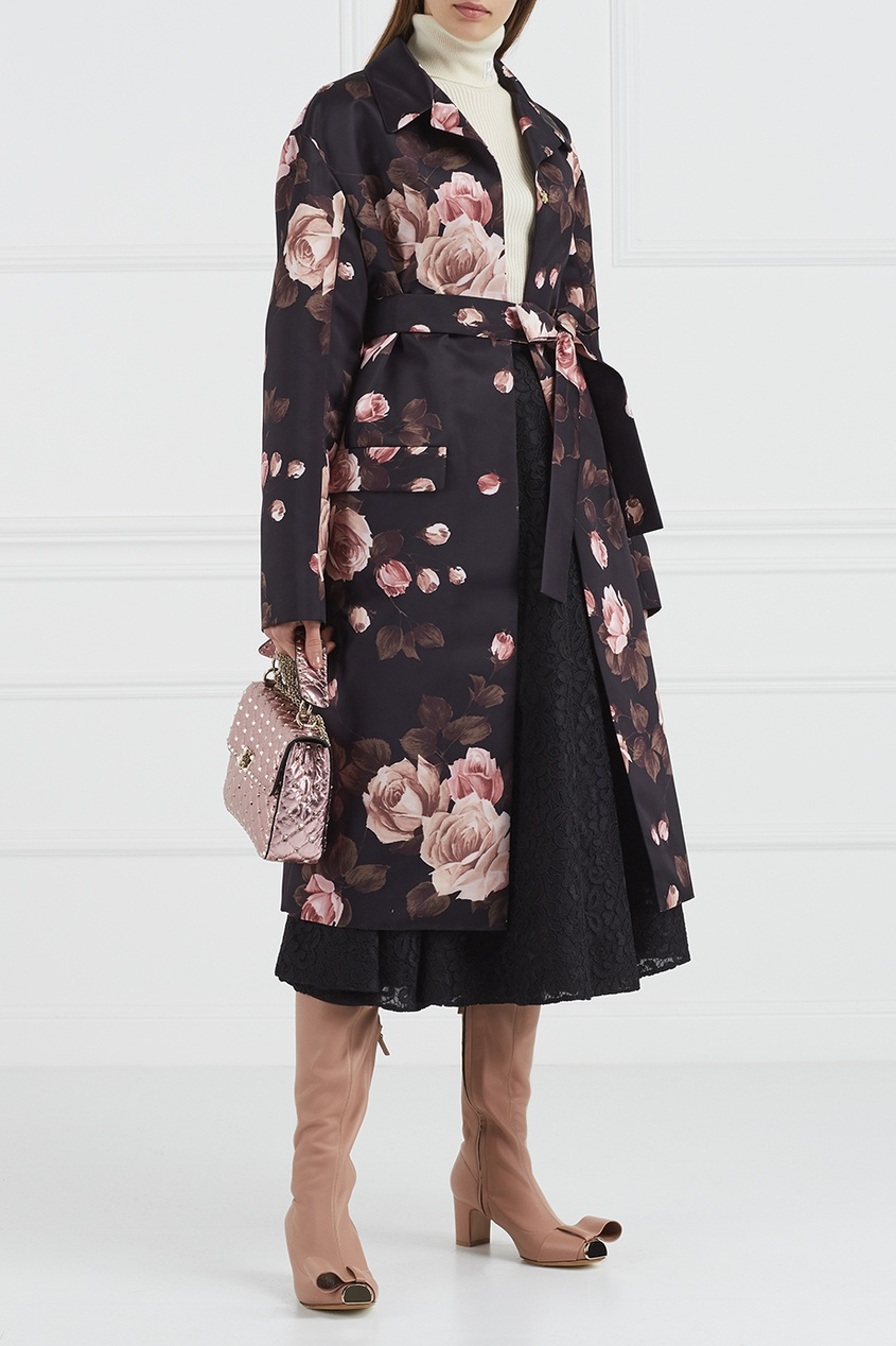 rochas бордовая юбка колокол Rochas Кружевная юбка