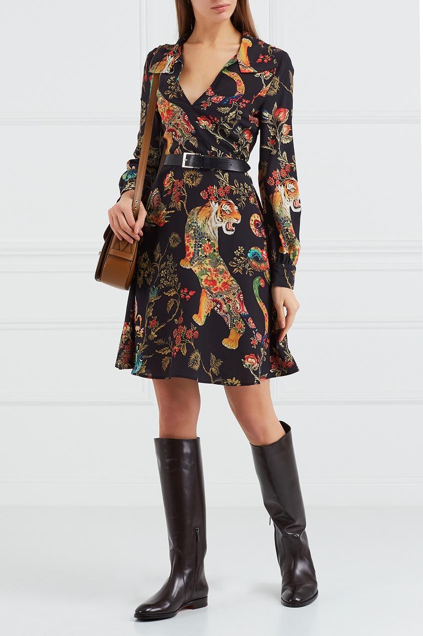Etro Шелковое платье с принтом