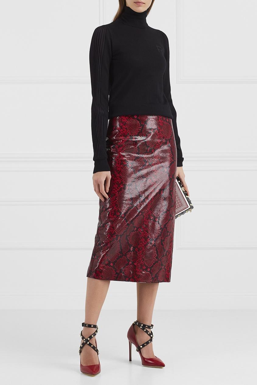 Rochas Кожаная юбка с принтом rochas