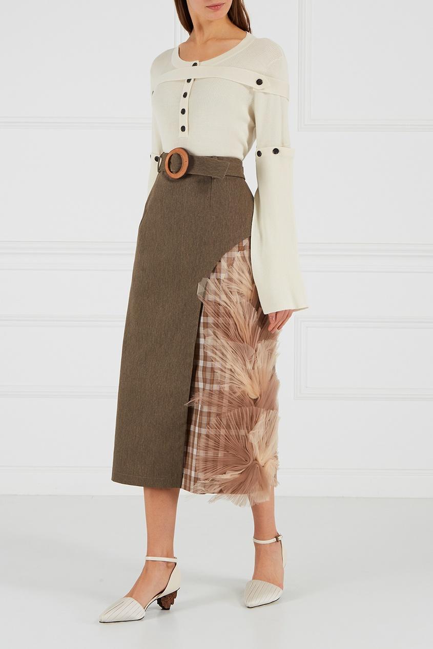 Хлопковая юбка с отделкой