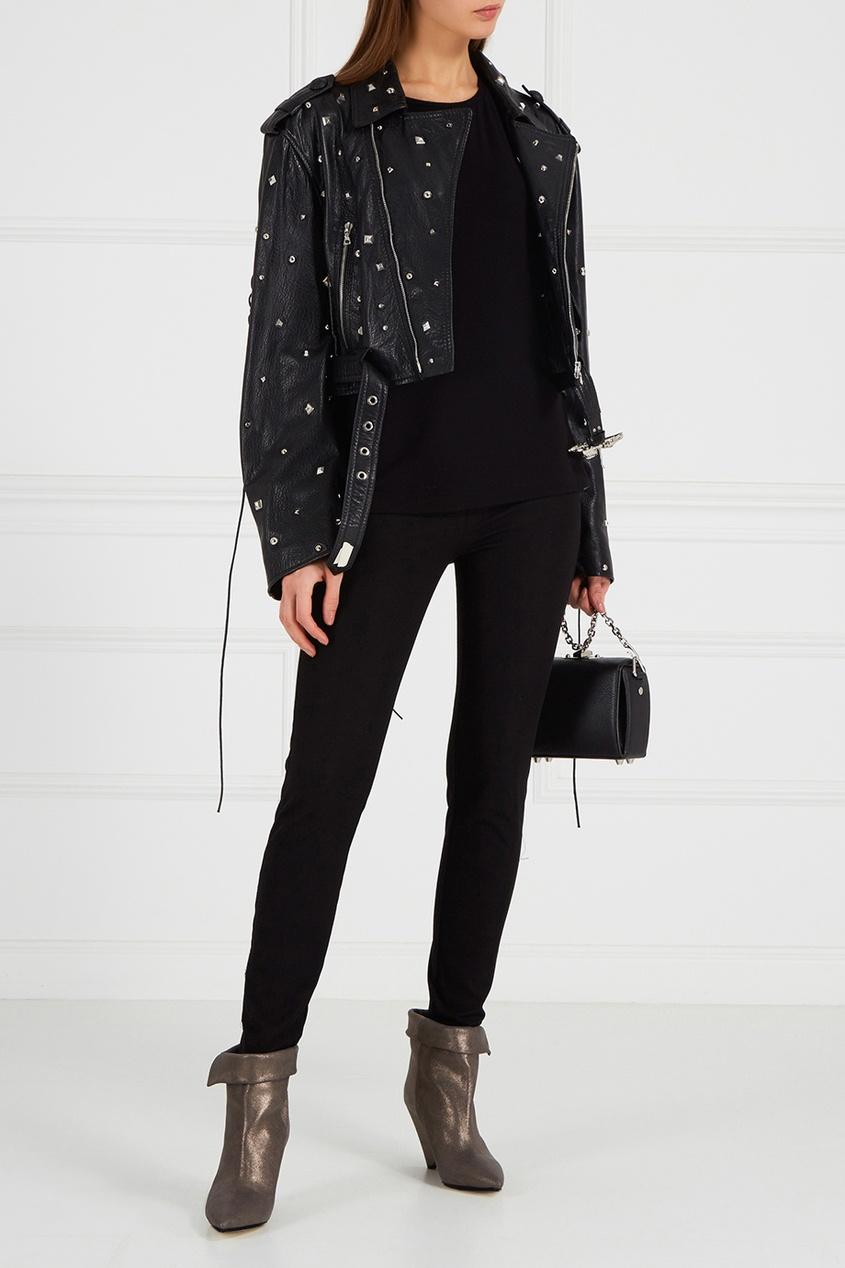 Maison Bohemique Кожаная куртка с заклепками maison bohemique пальто с узором с птицами