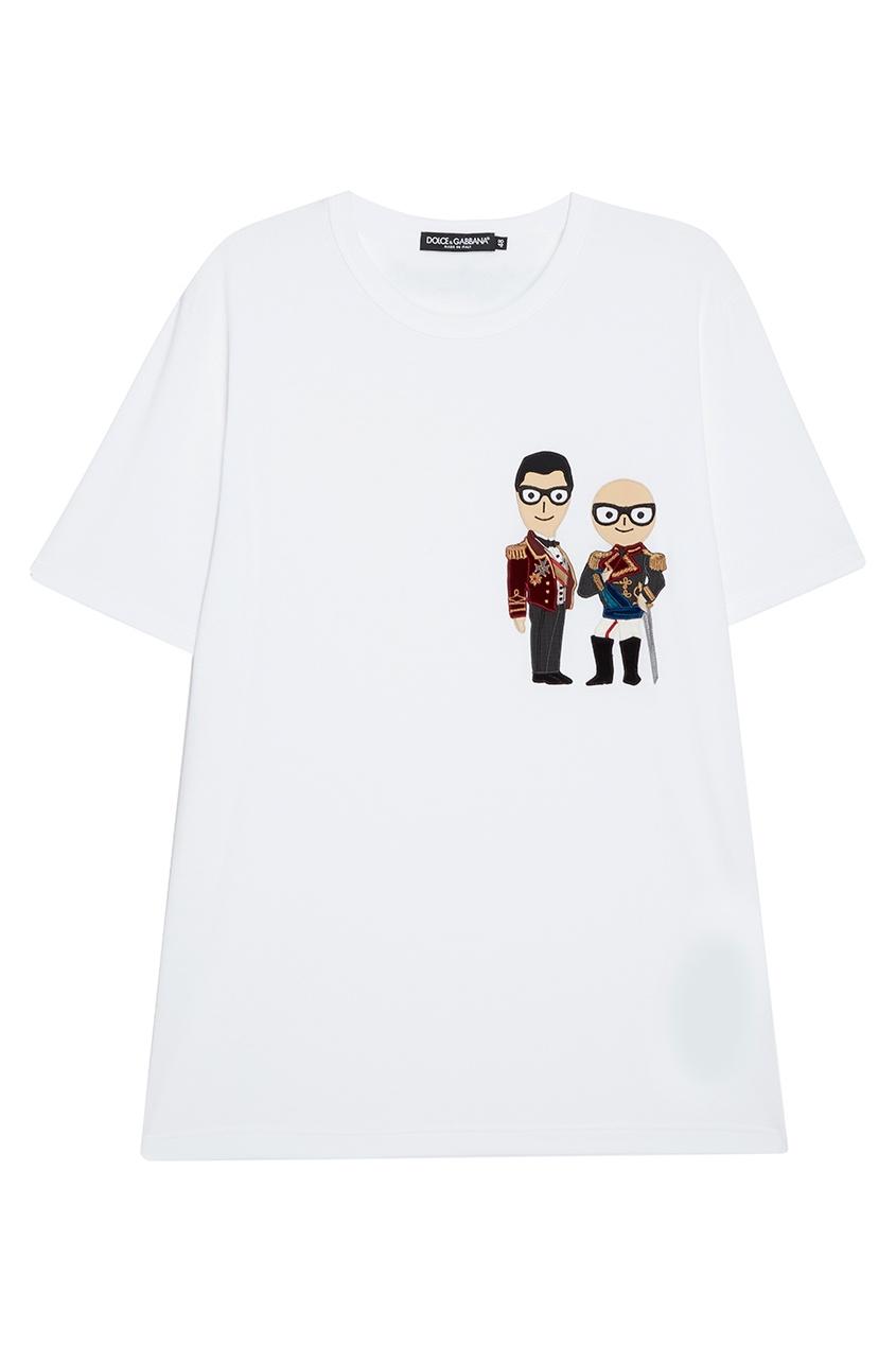 Dolce&Gabbana Хлопковая футболка с нашивками