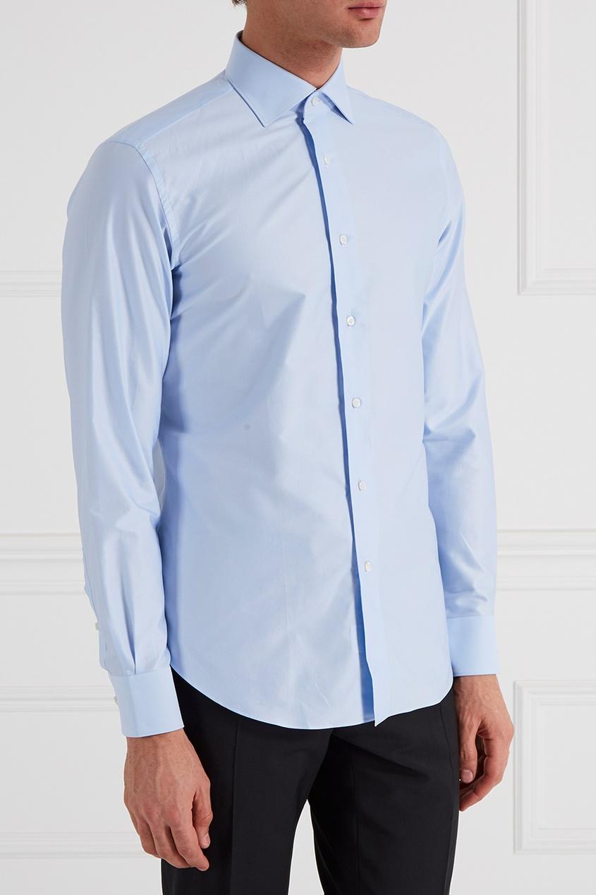 рубашка brioni цвет белый BRIONI Голубая рубашка из хлопка