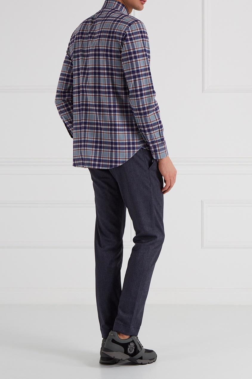 Синие брюки из смесовой шерсти