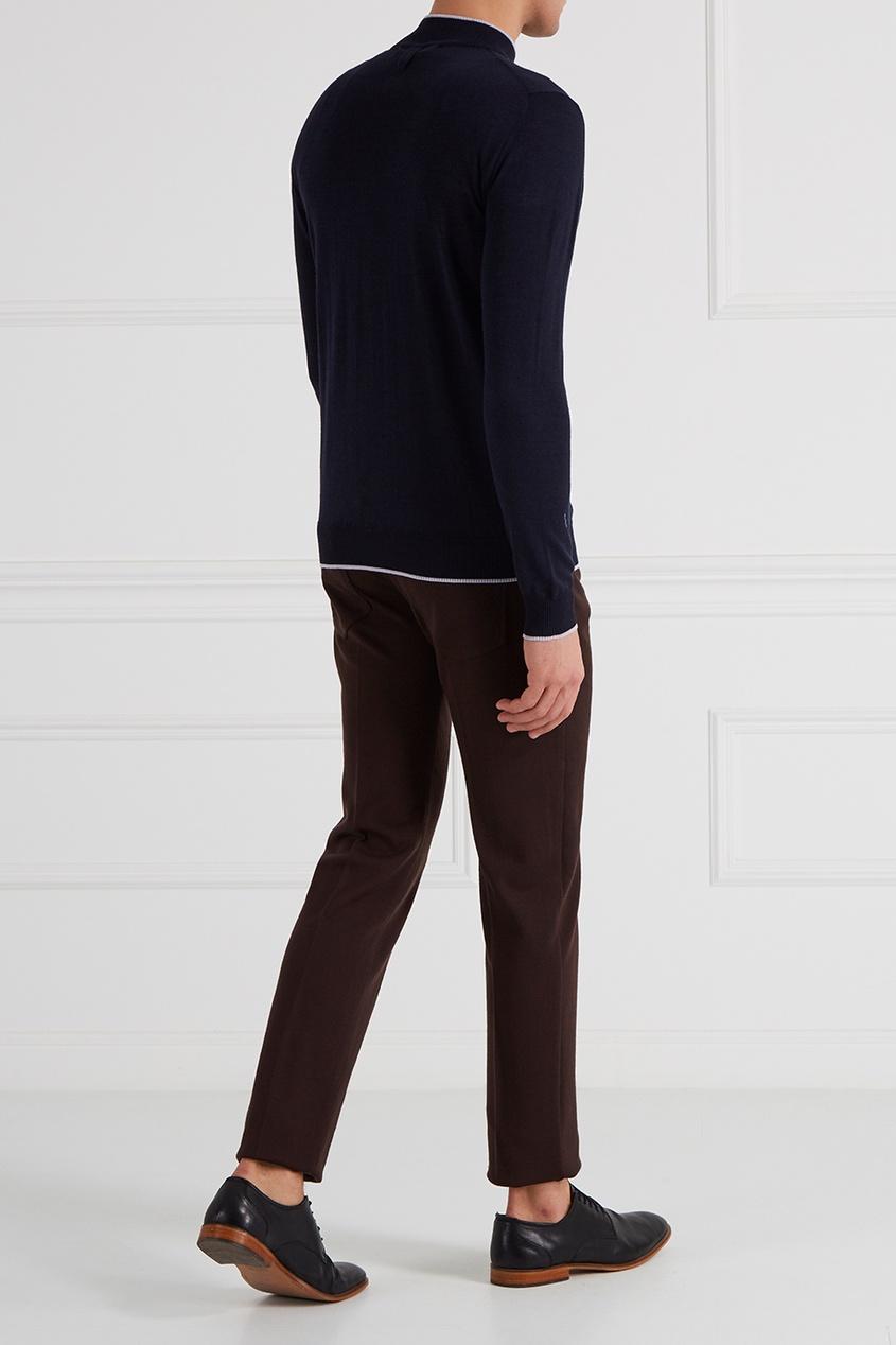 Синий свитер из шерсти и шелка