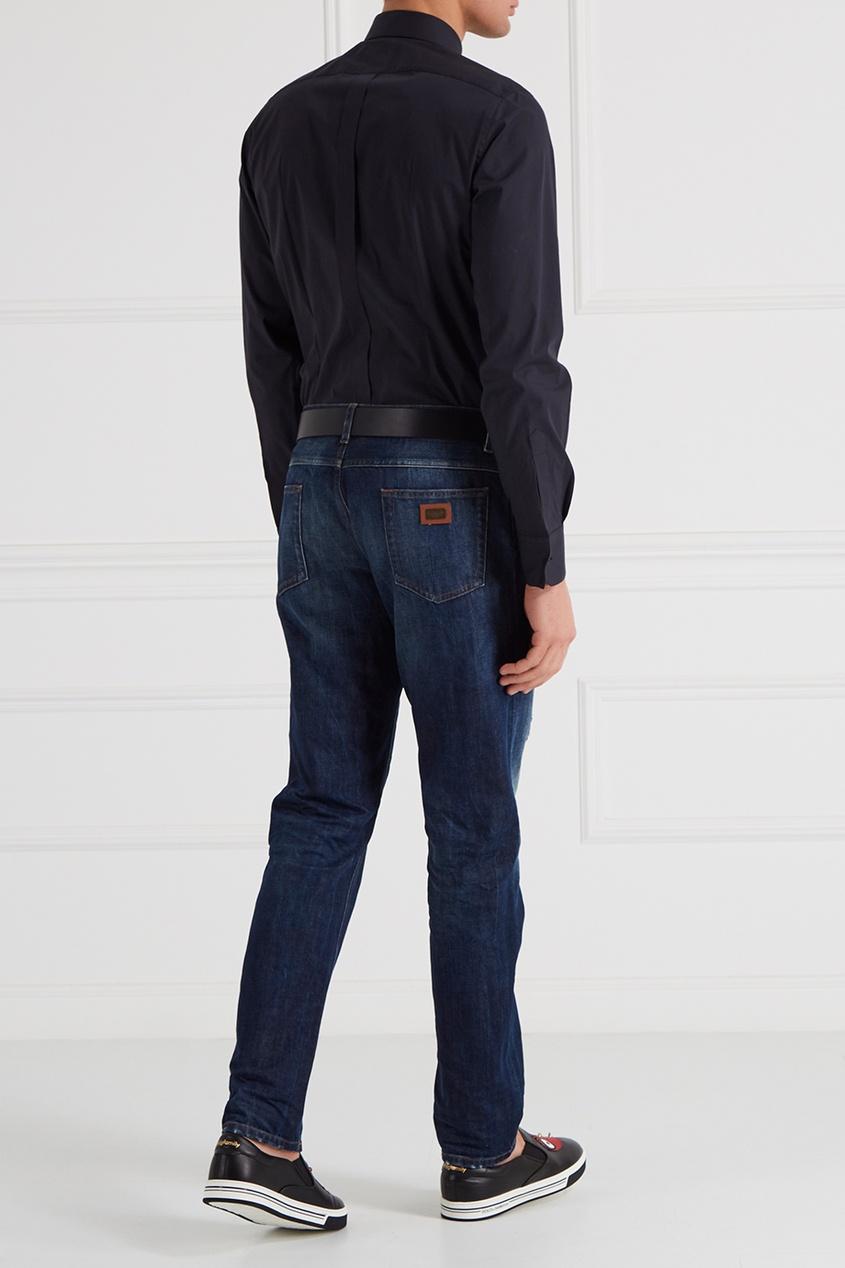 Dolce&Gabbana Синяя рубашка с нашивкой