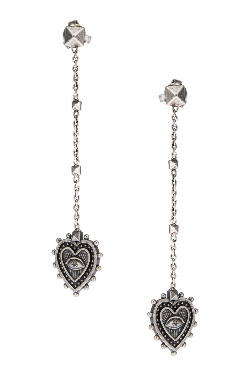 Valentino Серьги с подвесками-сердцами серьги с подвесками эстет серебряные серьги с куб циркониями и пластиком est01с2510678 10z