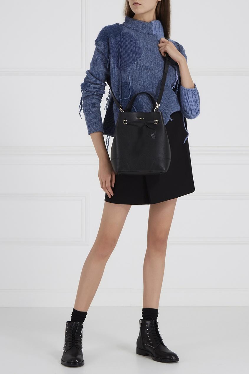 FURLA Черная сумка Stacy сумка черная замшевая фото