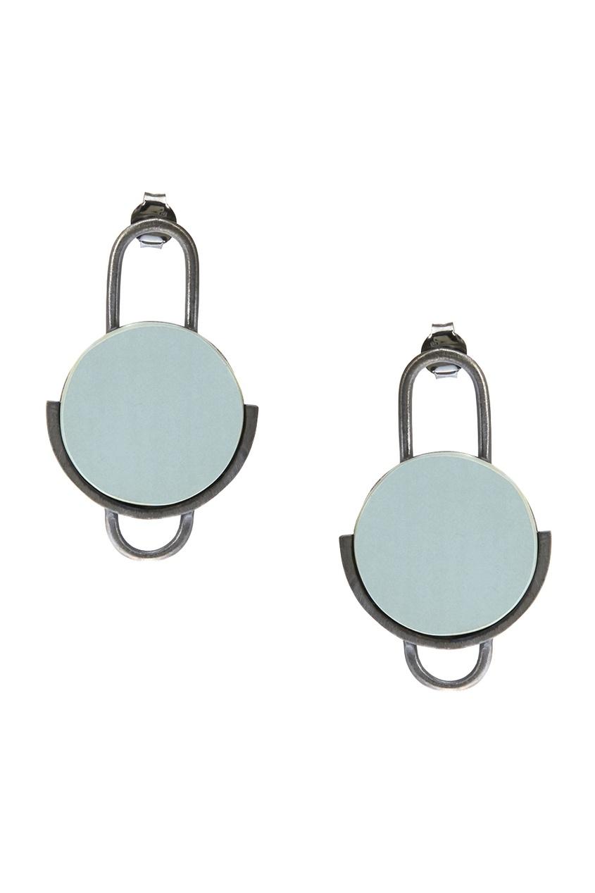 Серебряные серьги с круглой вставкой Joid art Barcelona