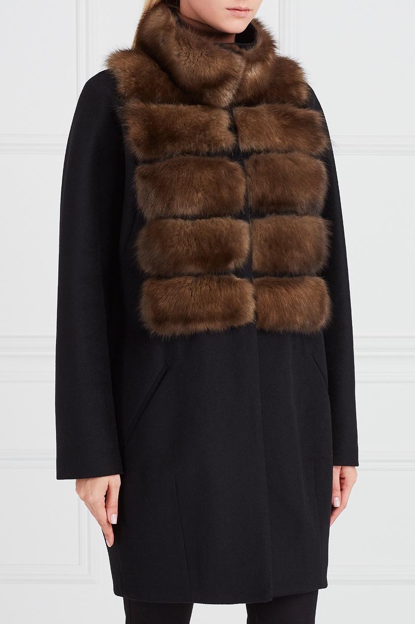 DREAMFUR Черное пальто из кашемира с мехом соболя dreamfur хомут из меха соболя