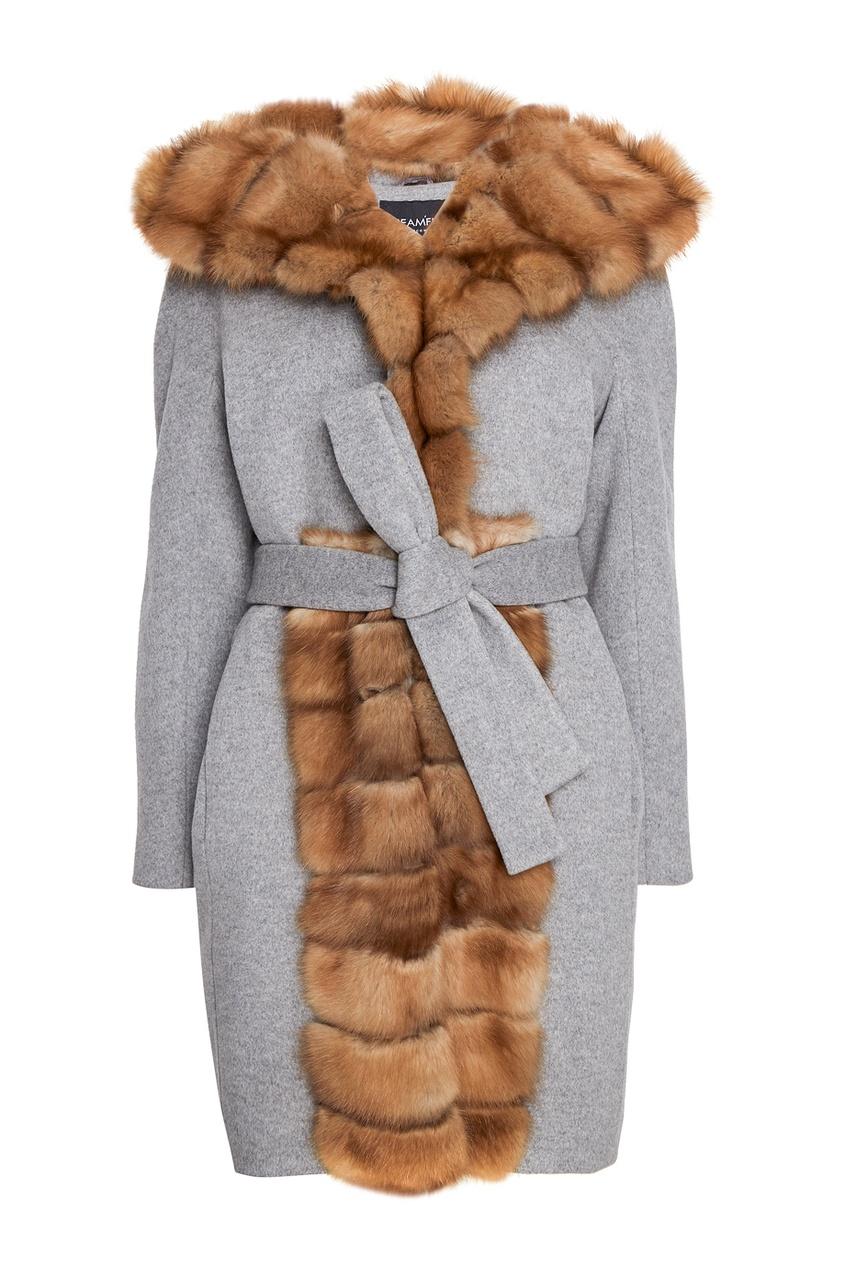 DREAMFUR Серое пальто из кашемира с мехом куницы