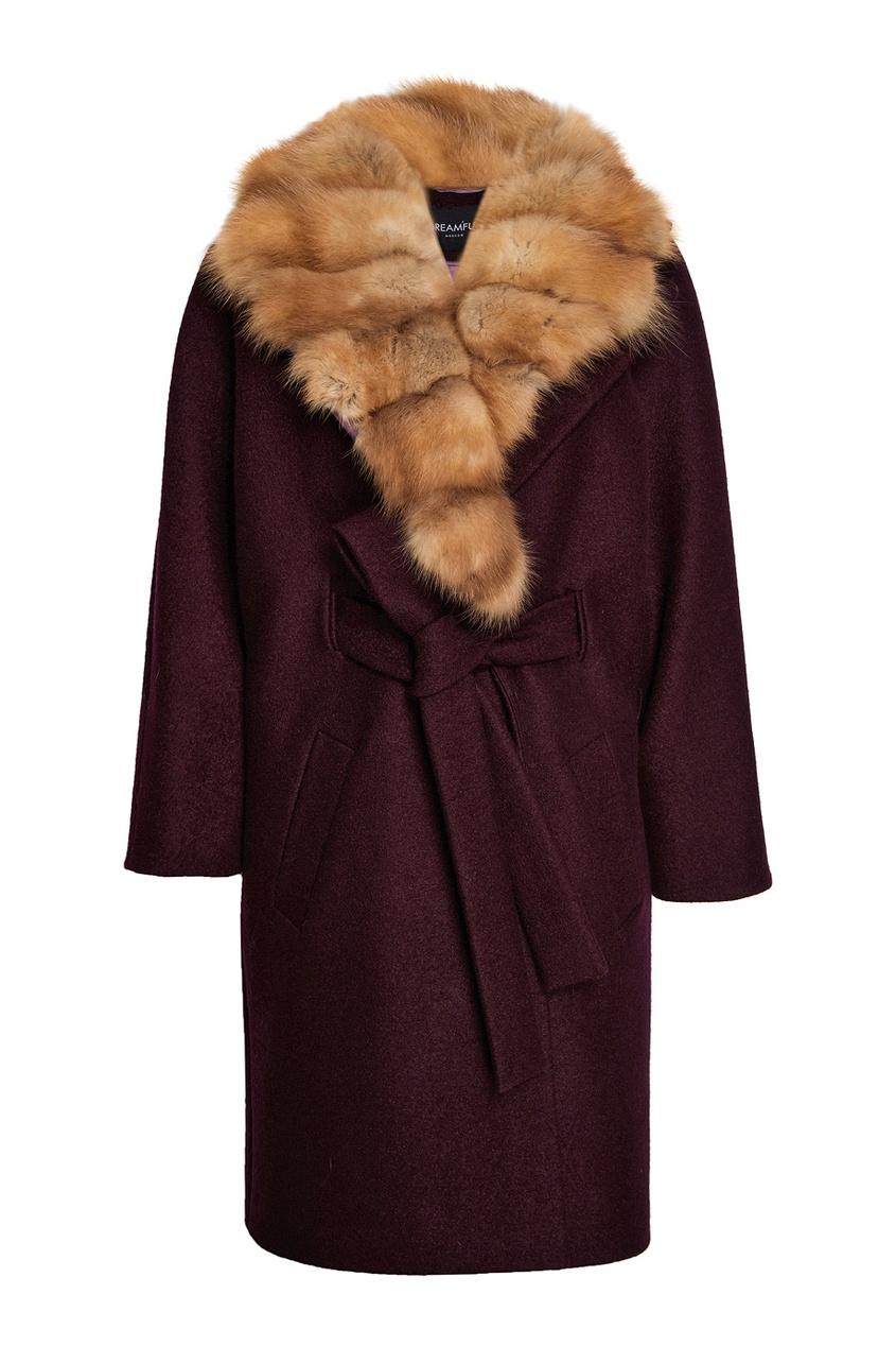 DREAMFUR Фиолетовое пальто из кашемира с мехом куницы