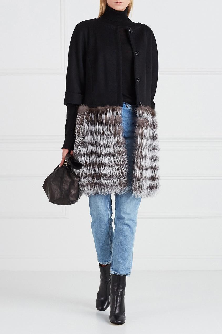 DREAMFUR Кашемировое пальто с мехом чернобурки dreamfur хомут из меха соболя