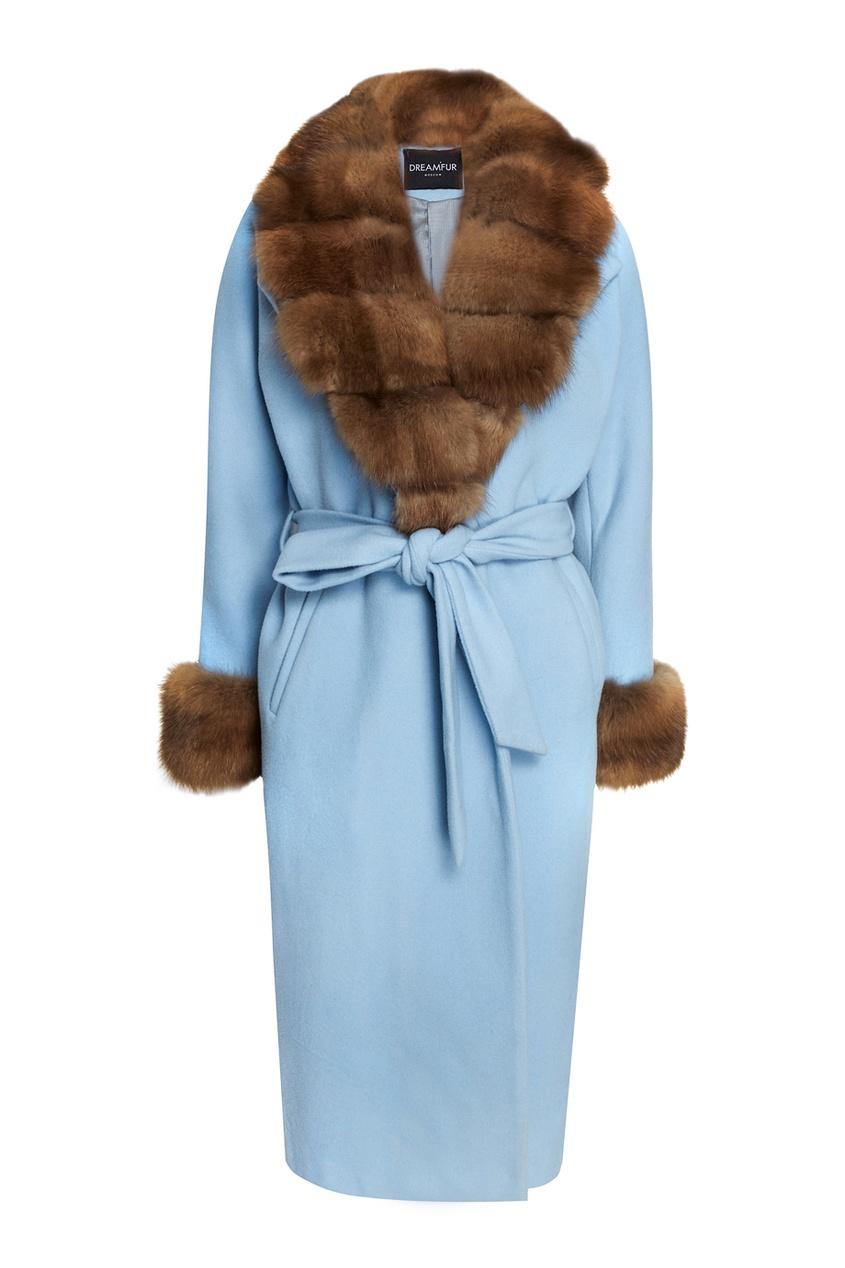 DREAMFUR Голубое кашемировое пальто с мехом куницы